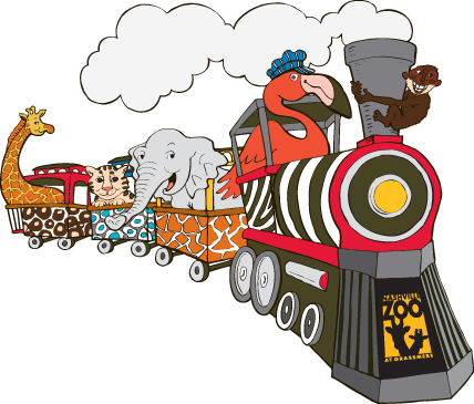 Kroger Safari Fridays and Nashville Zoo train illustration
