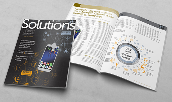 Solutions Magazine front cover and inside spread