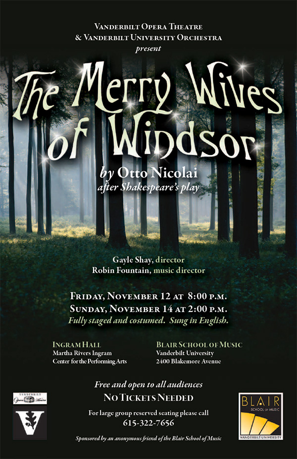 Blair School of Music: Merry Wives of Windsor poster